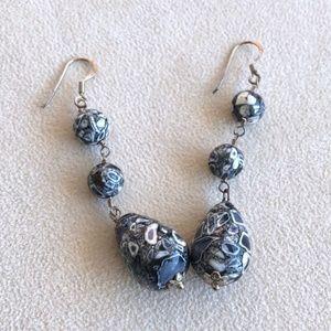 Jewelry - Marble stone blue & gray earring